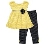 Youngland Jacquard Dress and Polka-Dot Leggings Set - Girls 4-6x