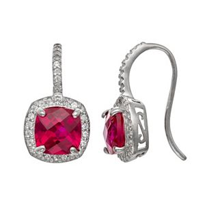 Sterling Silver Lab-Created Ruby and Lab-Created White Sapphire Halo Drop Earrings