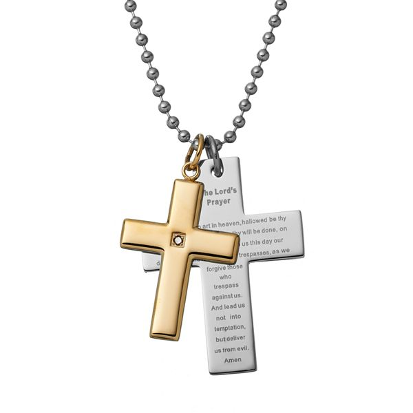 Black Diamond Accent Two Tone Stainless Steel The Lord S Prayer Cross Pendant Necklace Men