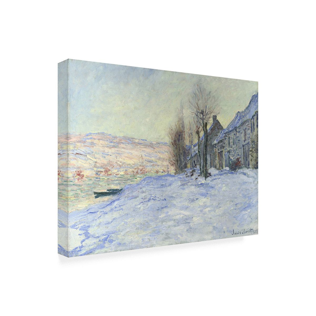 Trademark Fine Art ''Lavacourt Under Snow 1878-81'' Canvas Wall Art by Claude Monet B3Zz4