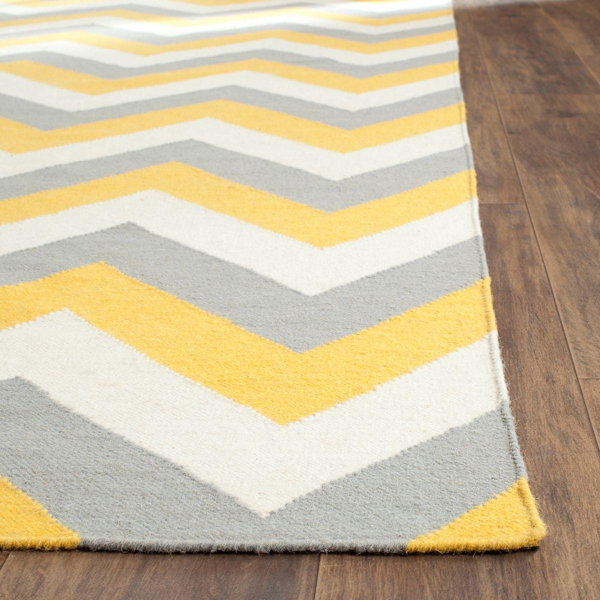 Safavieh Dhurries Chevron Handwoven Flatweave Wool Rug Gold Gray gm7xe