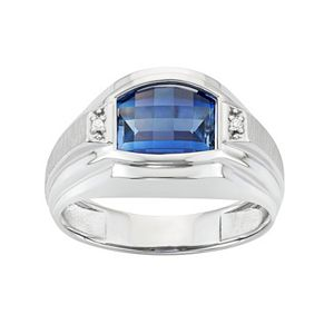 Men's Sterling Silver Lab-Created Sapphire & Diamond Accent Ring