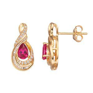 10k Gold 1/4 Carat T.W. Diamond & Ruby Twist Teardrop Earrings