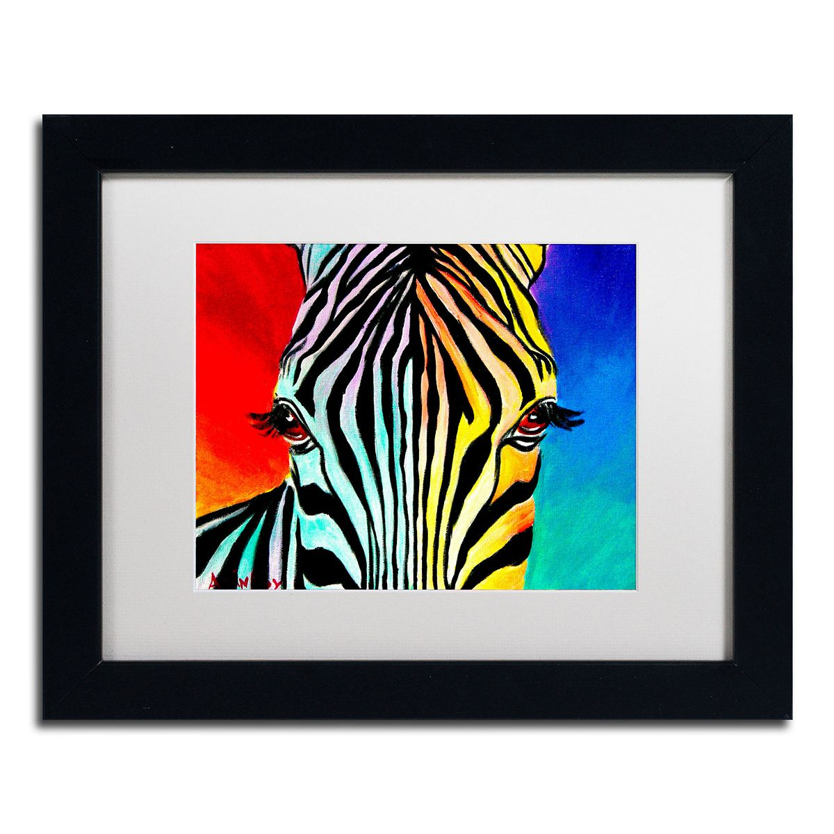 Trademark Fine Art Zebra Black Framed Wall Art Black hnlqd