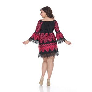 Plus Size White Mark Print Off-The-Shoulder Dress
