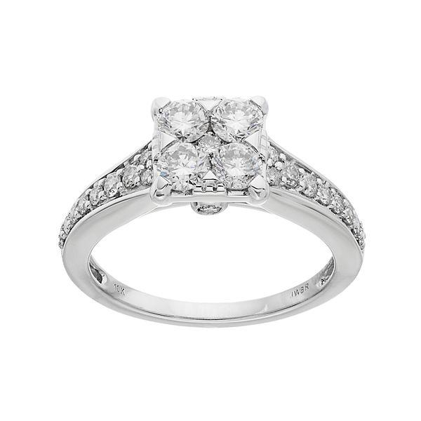 Lovemark 10k White Gold 1 Carat T W Diamond Square Cluster Engagement Ring