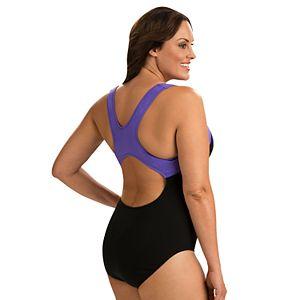 Plus Size Dolfin Moderate Colorblock One-Piece Swimsuit