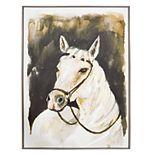 New View White Stallion Framed Canvas Wall Art