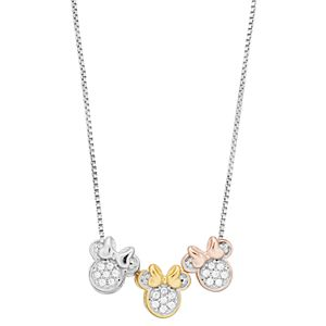 Disney's Minnie Mouse Tri-Tone Cubic Zirconia Necklace by Timeless Sterling Silver