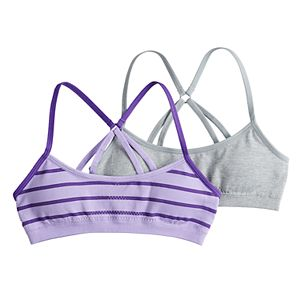 Girls 7-16 Hanes 2-pack Seamless Molded Racerback Wire Free Bralettes