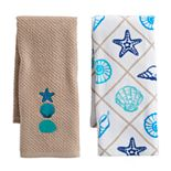 Mainstreet Tan Seashell Kitchen Towel 2-pack
