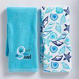 Mainstreet Blue Sun Sea Sand Kitchen Towel 2-pack