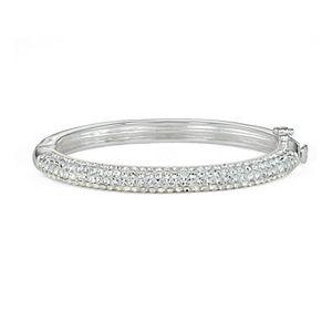 Charming Girl Kids' Silver Plated Crystal Hinged Bangle Bracelet