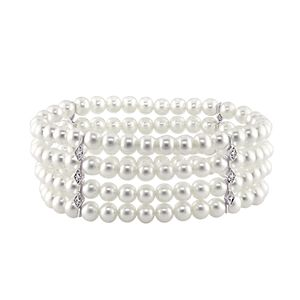 Stella Grace 14k White Gold Freshwater Cultured Pearl and Diamond Accent Multirow Bracelet