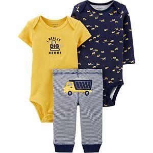 Baby Boy Carter's 3 Piece Construction Truck Bodysuits & Pants Set