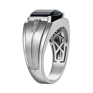 Men's Gemstone & Diamond Accent Sterling Silver Ring