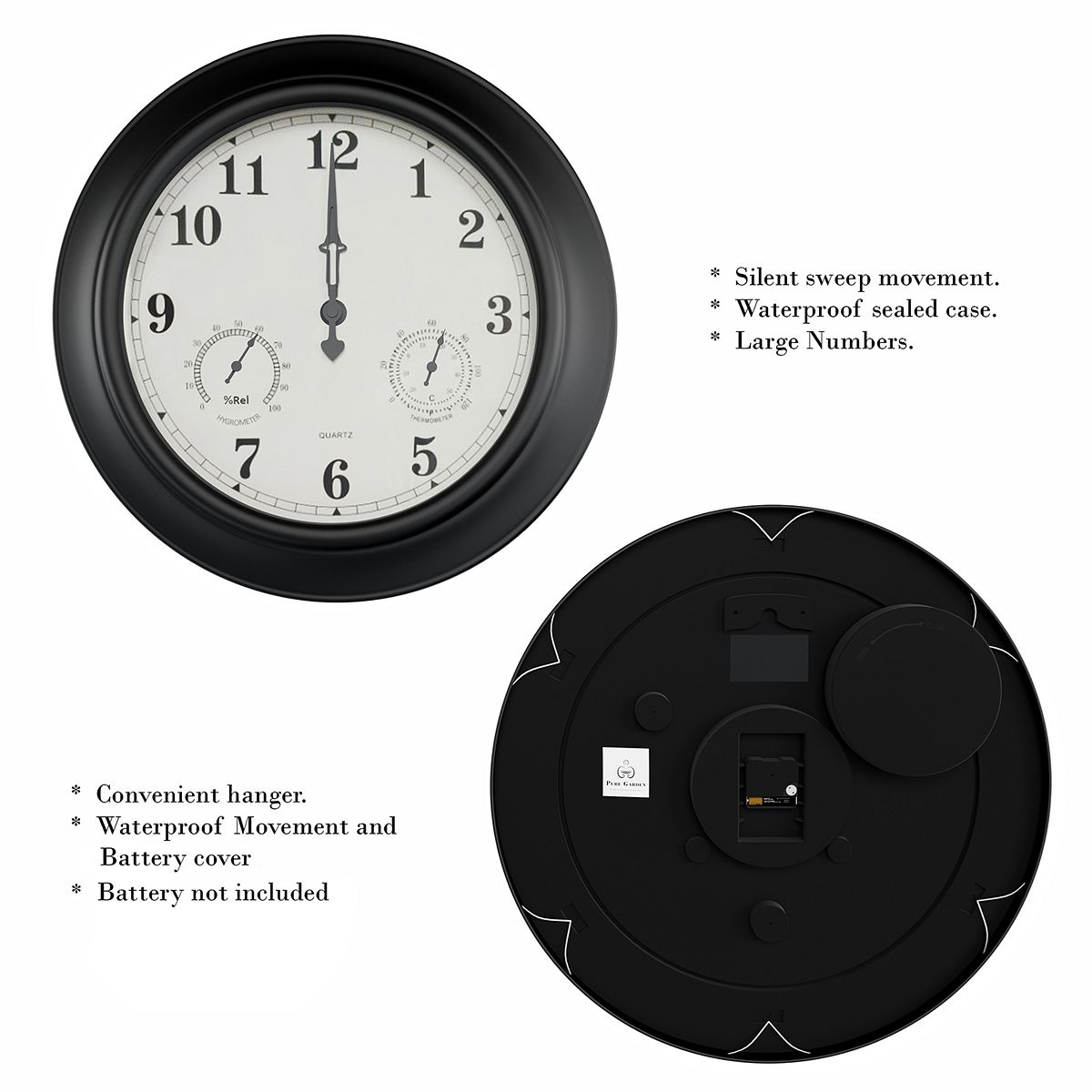 Pure Garden Temperature and Hygrometer Gauge Clock 1i3ir