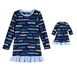 Girls 4-20 Jammies For Your Families® Hanukkah Family Microfleece Nightgown & Doll Gown Set