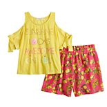 Girls 7-16 Self Esteem Cold-Shoulder Top & Shorts Set