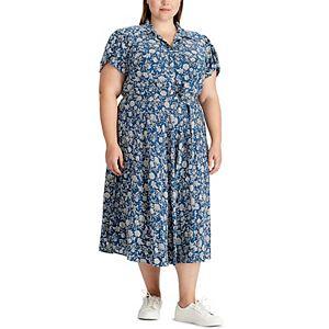 Plus Size Chaps Floral Shirt Dress