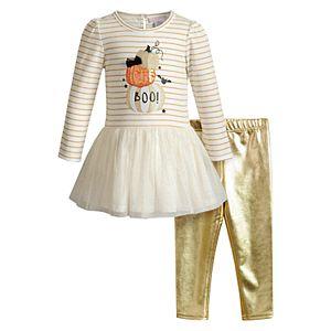 Girls 4-6x Youngland Halloween Dress & Metallic Leggings Set