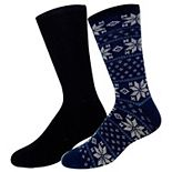 Big & Tall Croft & Barrow® 2-pack Patterned & Solid Duo Layer Crew Socks