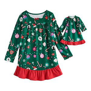 Girls 4-18 & Plus Size SO Holiday Ruffle Yoke Dorm with Doll Gown