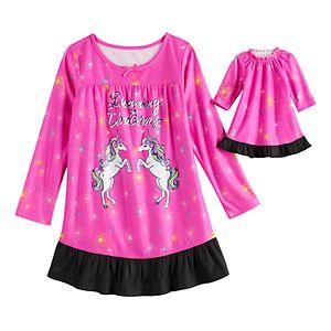 Girls 4-18 & Plus Size SO Ruffle Yoke Dorm with Doll Gown