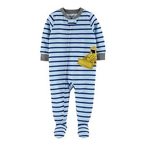 Baby Boy Carter's Bulldozer Zip-Up Footed Pajamas