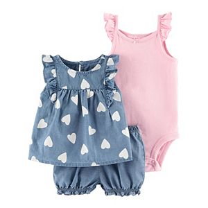 Baby Girl Carter's Ruffled Bodysuit, Heart Top & Chambray Shorts Set