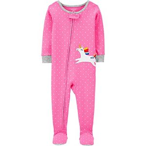 Toddler Girl Carter's Unicorn Polka Dot Zip Footed Pajamas