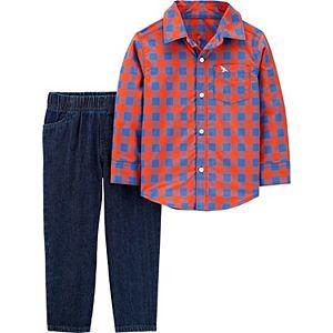 Toddler Boy Carter's Plaid Button-Front Shirt & Twill Denim Pants Set