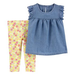 Baby Girl Carter's Chambray Top & Floral Legging Set