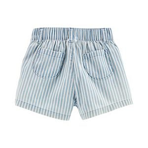 Baby Girl Carter's Eyelet Flutter Top & Striped Chambray Shorts Set