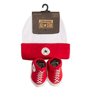 Baby Girl Converse 2 Piece Signature Chuck Patch Beanie and Chuck Booties Set