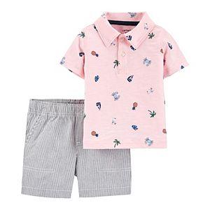 Baby Boy Carter's Beach Polo & Striped Shorts Set