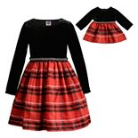 Girls 4-10 Dollie & Me Plaid Velvet Dress with Matching Doll Dress