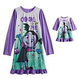 Disney's Vampirina Girl's 4-8 Long Sleeve Dorm Nightgown & Doll Nightgown