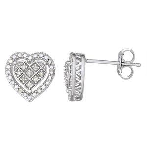 Sterling Silver 1/10 Carat T.W. Diamond Heart Stud Earrings