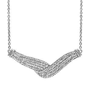 Sterling Silver 1 Carat T.W. Diamond Twist Chevron Necklace