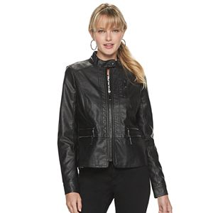 Petite Apt. 9 Moto Zip Pleather Jacket