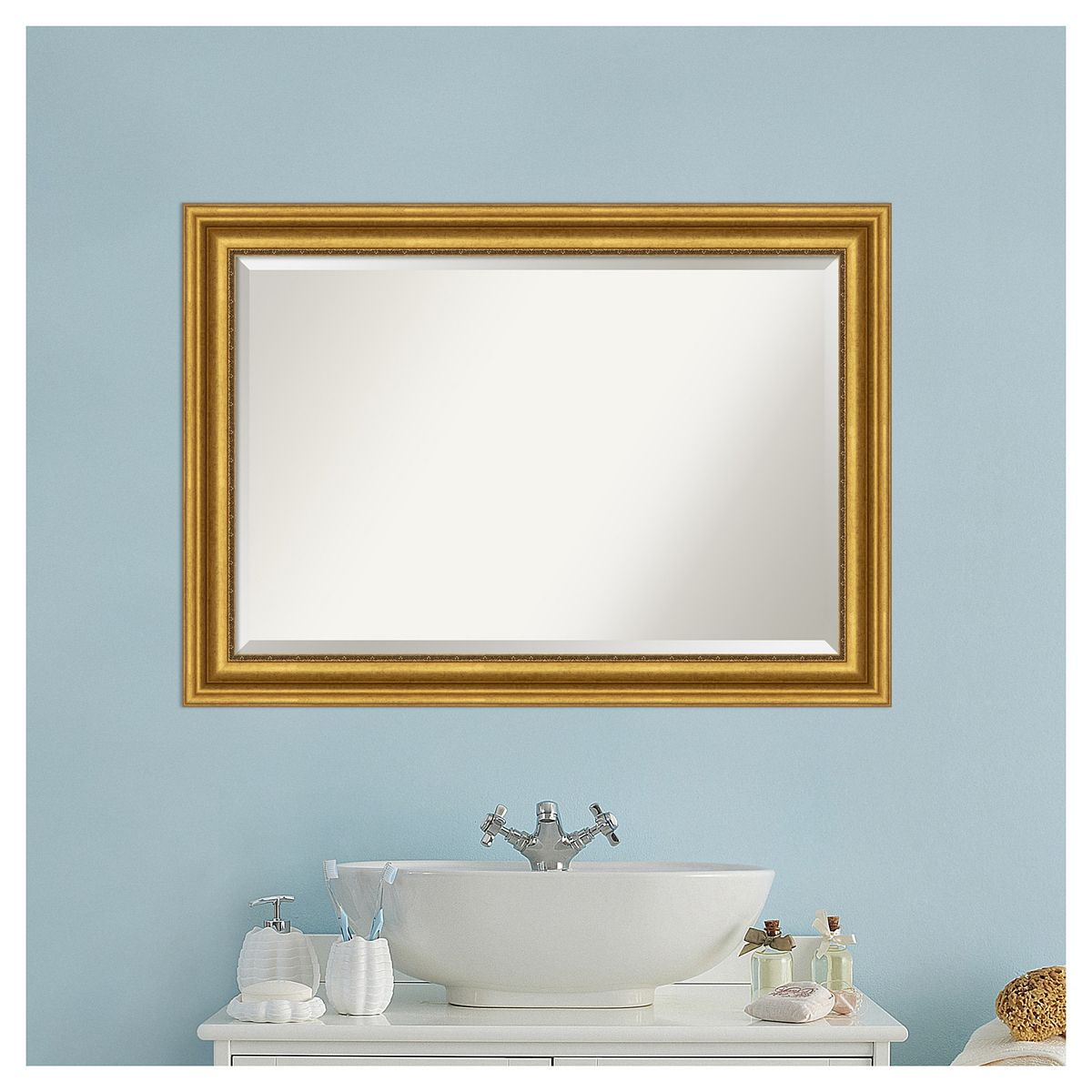 Amanti Art Parlor Gold Bathroom Vanity Wall Mirror C8OqB