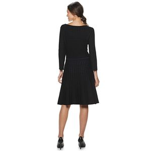 Women's Nina Leonard Contrast Dot Fit & Flare Sweater Dress