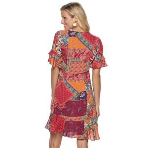 Women's Sharagano Patchwork Print Fit & Flare Dress