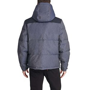 Men's Levi's Mixed Media Quilted Puffer Jacket with Sherpa Lined Hood