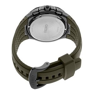 Seiko Men's Coutura Black Ion-Plated Stainless Steel & Silicone Solar Chronograph Watch - SSC747