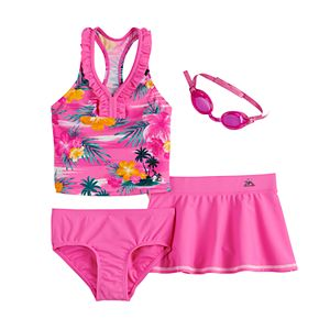 Girls 4-6x ZeroXposur Haven On Earth Tankini, Bottoms, Cover-Up Skirt & Goggles