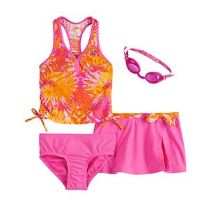 Girls 4-6x ZeroXposur Rainforest Riot Tankini, Bottoms, Cover-Up Skirt & Goggles Swimsuit Set