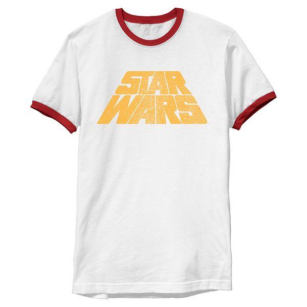 Men S Star Wars Classic Original Retro Slant Logo Vintage Graphic Tee