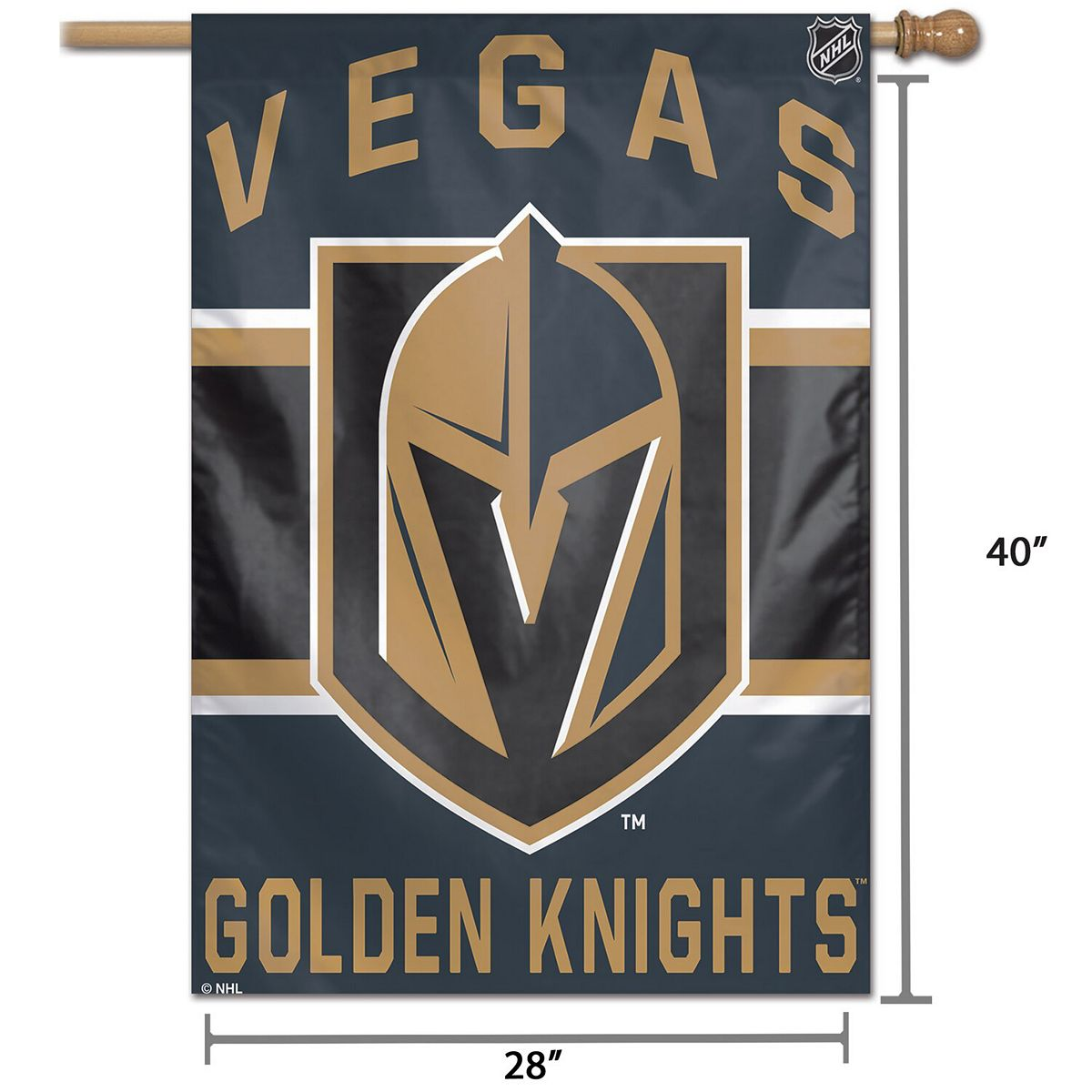 "WinCraft Vegas Golden Knights 28"" x 40"" Wordmark Single-Sided Vertical Banner TK7qB"
